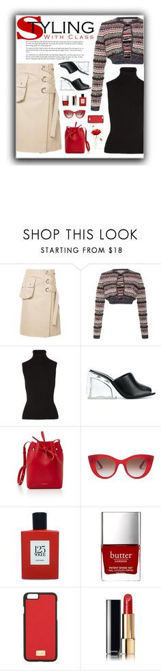 """""""Styling With Class"""" by butterflykate88 ❤ liked on Polyvore featuring Sacai, Carven, Michael Kors, 3.1 Phillip Lim, Mansur Gavriel, Thierry Lasry, Comme des Garçons, Dolce&Gabbana and Chanel"""