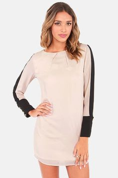 Shift Into Gear Black and Beige Shift Dress at Lulus.com!: Potential Dress For Party In NYC