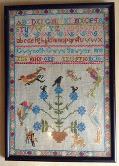 Vintage Cross Stitch Embroidered Sampler 1931 by ApiaryAntiques