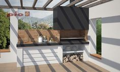Barbacoas a medida Bbq Kitchen, Backyard Kitchen, Outdoor Kitchen Design, Barbacoa Jardin, Parrilla Exterior, Outdoor Grill Area, Bbq Places, Barbecue Design, Pergola
