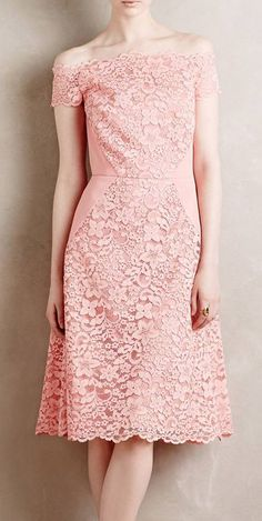 Persica Lace Dress - Off the shoulder would have to be for a special occasion. So impractical for a real bra! Dress Brokat, Kebaya Dress, Dress Skirt, Dress Up, Kebaya Pink, Simple Dresses, Pretty Dresses, Beautiful Dresses, Short Dresses