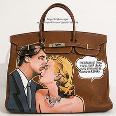 Boyarde hand painted Hermes Birkin with Cary Grant and Grace Kelly in the classic film To Catch a Thief via Boyard instagram