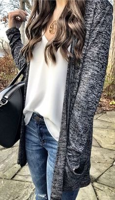 Grey Maxi Cardigan / White Silk Top / Ripped Skinny Jeans / Black Leather Tote Bag