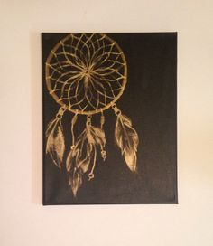 Gold and Black Dream Catcher Painting On Canvas by nicolehragyil