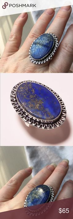 NEW! Beautiful Lapis Lazuli Sterling Silver Ring NEW! Beautiful Lapis Lazuli Sterling Silver Ring  Flecks of gold in a sea of deep brilliant blue Size 7.5  Brand New!  Amazing! Pictures do not do this justice! Jewelry Rings