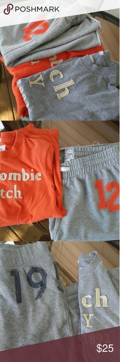Best Sweats bundle You get a great sweat bundle : (2) Ambercrombie Short sleeve shirt /Orange & Grey / ---(2) Sweat shorts (1)Micheal Jordan long sleeve sweat shirt.   NOTE: Ambercrombie shirts are size small/ shorts w orange are7/8. Grey shorts are size 9-10/ Micheal Jordan is size 8......   2 Free Gifts not shown... Best Bundle.   Yes!! Abercrombie & Fitch Matching Sets