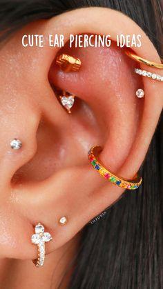 Ear Piercings Rook, Pretty Ear Piercings, Ear Peircings, Types Of Ear Piercings, Cartilage Earrings, Dr Tattoo, Tattoos, Ear Piercing Combinations, Diamond Earrings Indian