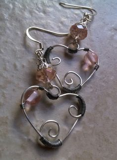 Wire Wrapped Heart Pink Crystal Valentines by EliDavidDesign