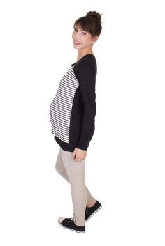 Viva la Mama | The white-black lined and long-sleeved pregnancy, nursing & maternity shirt MITSCHKA has a beautiful maritime sailors style. MITSCHKA makes discreet breastfeeding everywhere possible.
