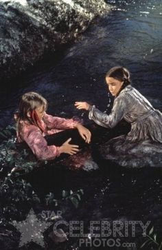 Nellie and Laura in the river.