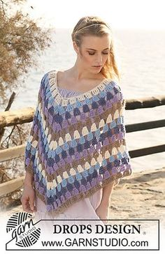 """Crochet DROPS Poncho in 2 threads """"Alpaca"""". Size S-XXXL ~ DROPS Design. I'll have to find a nice spring dress for one of my girls and match the colors! Poncho Au Crochet, Alpaca Poncho, Pull Crochet, Crochet Poncho Patterns, Crochet Shawls And Wraps, Crochet Scarves, Crochet Clothes, Free Crochet, Knit Crochet"""