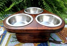3 Bowl feeder for Pets and  Pet LoversCustom by WoodyToolWorks, $39.50