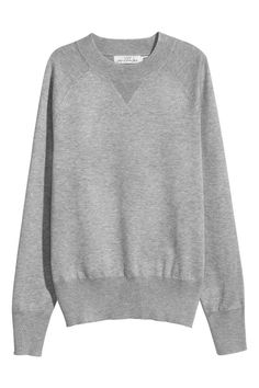 Sweter z cienkiej dzianiny - Szary melanż - ONA | H&M PL 1