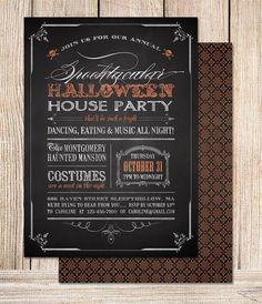Printable Halloween Invitation Chalkboard Halloween by plpapers