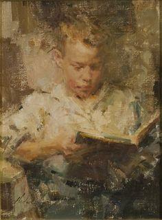 Artist: Carolyn Anderson - Title: Boy Reading II