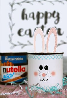 Nutella Bunnies - Turn your kids favorite treat into fun Easter Craft   Free Easter Printables   Easter Crafts for Kids