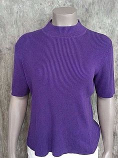 Worthington Mock turtleneck knit top size M short sleeve #Worthington #Turtleneck #Casual