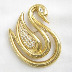 Vintage Lady Remington Large Gold Tone Modernist Style SWAN Brooch with Pave Rhinestones.