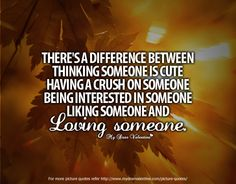 There is a difference between thinking someone is cute, having a crush on someone, being interested in someone, liking someone and loving someone.