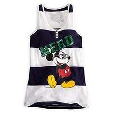 Super Cute! Disney Mickey Mouse Tank Tee - Nerd | Disney StoreMickey Mouse Tank Tee - Nerd - Celebrate the geek lifestyle with Mickey in nerd costume on a stylish tank tee with sheer burnout fabric and fancy trims.