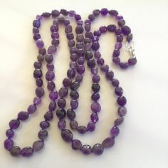 Amethyst Necklace Long Purple Beaded Necklace by PetitDepot