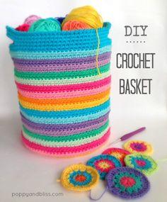 Crochet Basket By poppyandbliss - Free Crochet Pattern - (poppyandbliss) Diy Tricot Crochet, Diy Crochet Basket, Stitch Crochet, Crochet Basket Pattern, Crochet Home, Bead Crochet, Crochet Crafts, Crochet Stitches, Crochet Projects