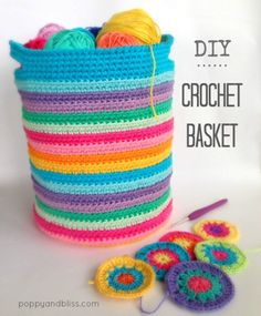 Crochet Basket DIY from Poppy and Bliss - The bright colors of this crochet basket pattern are to DIE for