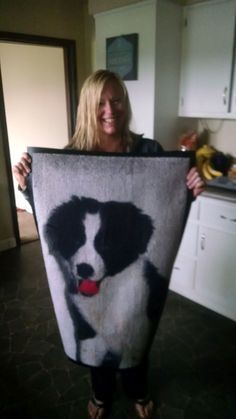 Happy customer with her dog printed on a rug