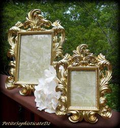 "Brilliant Gold Wedding Decor-Matching Frames 12"" and 7""-Formal Reception,Goth Home,Paris Gold,5x7Frame,Wedding Supplies,Gold Rococo,Baroque"