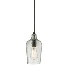 ELK Lighting, Hammered Glass Pendant Light in Oiled Bronze, 10331/1CLR