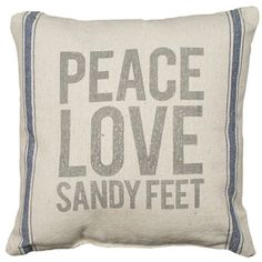 Peace Love Sandy Feet Linen Pillow