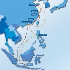 CHINA1 SERVICE: Qingdao - Shanghai - Ningbo - Xiamen - Hong Kong (HIT) - Jakarta - Surabaya - Manila (S) - Hong Kong (HIT) - Qingdao