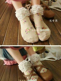 Japanese lace trim cotton socks