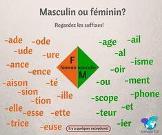 Petit visuel intéressant pour faire la distinction entre le masculin et le féminin!
