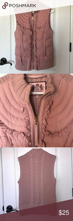 Juicy Couture Vest Pink / Taupe vest. Juicy Couture. Love Love Love this piece, but it's a little too big for me. Awesome condition. Worn only a few times. Juicy Couture Jackets & Coats Vests