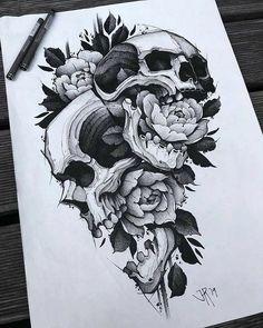 Skull Rose Tattoos, Body Art Tattoos, Hand Tattoos, Sleeve Tattoos, Skull Tattoo Design, Tattoo Designs, Tattoo Ideas, Tattoo Sketches, Tattoo Drawings