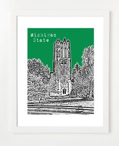 East Lansing Michigan MSU Beaumont Tower Skyline Art Print and Poster   By BirdAve Posters