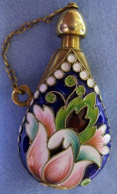 Vermeil Cloisonne Enamel Perfume Bottle   eBay