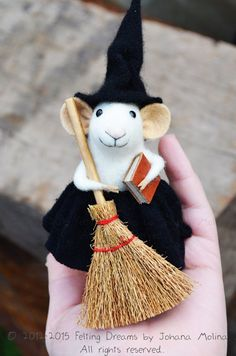 Sweety Witch Mouse  READY TO SHIP van feltingdreams op Etsy