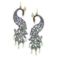 Arman Sarkisyan Peacock earrings with tanzanite, tsavorite, diamonds and oxidised silver