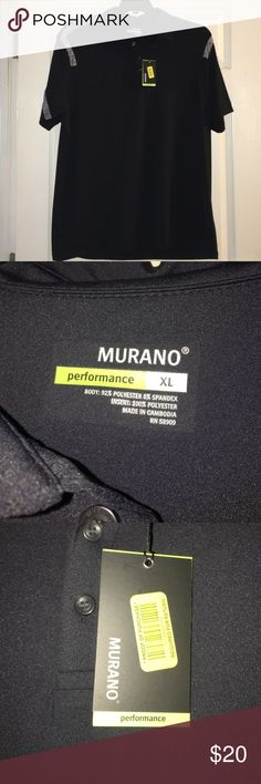 Murano Performance Short Sleeve Polo XL New with tags. Poly/spandex blend. Black with gray trim. Size XL Murano Shirts Polos