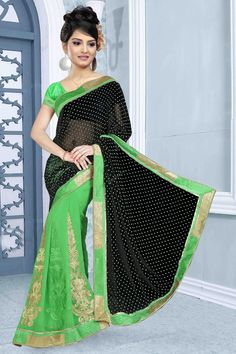 Black Green Georgette Saree with Art Silk Blouse Designer Sari Collection like Black Green Georgette Saree with Art Silk Blouse presented by Topkart Fashion. Embellished with Embroidered, Stone, Zari, Laces Pallu, Round Neck Blouse, Short Sleeve. This is perfect for Party, Wedding, Festival, Casual