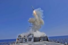 Guided Missile being launched from the Vertical Launching System of the USS John Paul Jones