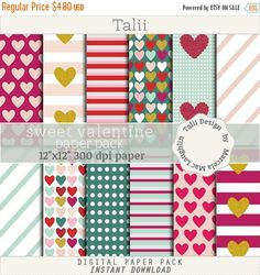 ON SALE Sweet Valentine DIGITAL Paper Pack- Hearts, stripes and dots backgrounds in pink, red, green and gold glitter for scrapbooking, card
