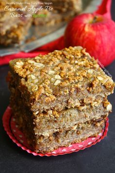 Healthy refined sugar free Vegan Gluten Free Caramel Apple Pie Bars with zucchini! Dairy Free, nut free, soy free and Super food allergy friendly!