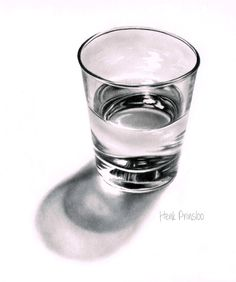 How to draw a glass drawing tutorial. realistic drawing of a glass of water.