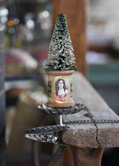 spool & bottle brush tree. Jenni Bowlin.