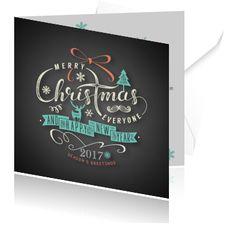 Kerstkaarten zelf maken, vintage christmas cards bestellen. Kaart voor de kerst in krijtbord met kerstboom en rendier.
