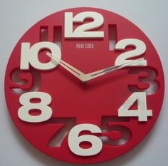 3D Large Digit Modern Contemporary Kitchen Office Home Decor Round Wall Clock Red: Home & Kitchen