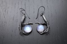 Prophecy Earrings  Bird Claw and Rose Cut Moonstone by Charlotte Burkhart of Little Sister Designs, $200.00
